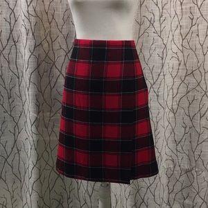 Talbots wool checked skirt